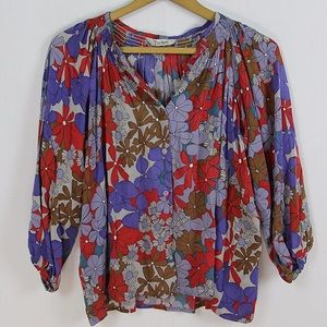 Tucker Silk Floral Top P Red Purple XS 0 2